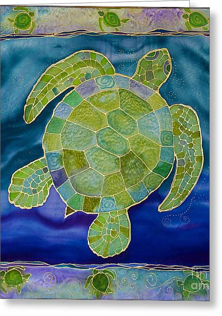 Aquatic Tapestries - Textiles Greeting Cards - Green Sea Turtle Silk Painting Greeting Card by PattyMara Gourley