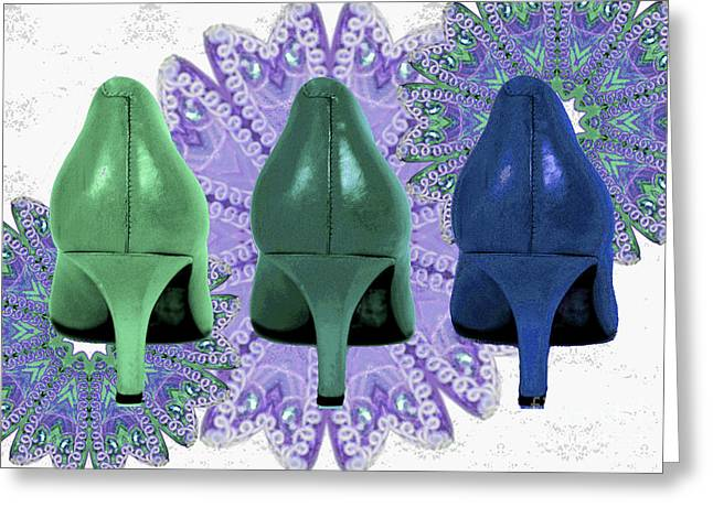 Shades Of Red Greeting Cards - Green shoes on purple Lace Greeting Card by Maralaina Holliday