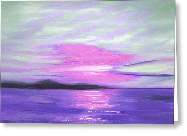 Abstract Beach Landscape Greeting Cards - Green Skies and Purple Seas Sunset Greeting Card by Gina De Gorna