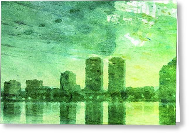 Green Skyline Greeting Card by Andrea Barbieri