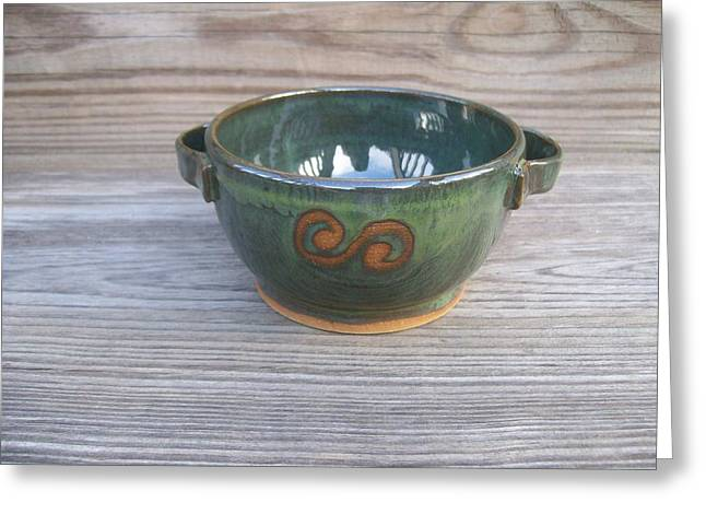 Small Ceramics Greeting Cards - Green Soup Bowl Greeting Card by Monika Hood