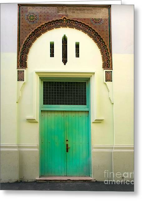 Old San Juan Greeting Cards - Green Spanish Doors Greeting Card by Perry Webster