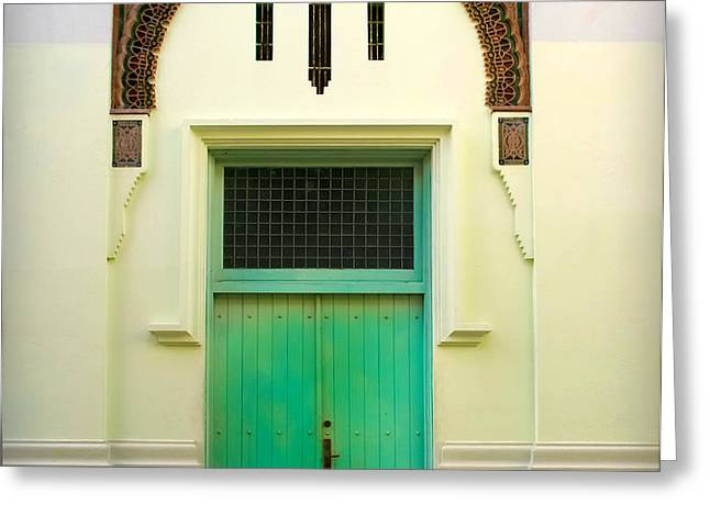 Green Spanish Doors Greeting Card by Perry Webster