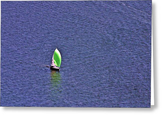 Wind In The Sails Greeting Cards - Green Spinnaker Sailing Greeting Card by Duncan Pearson