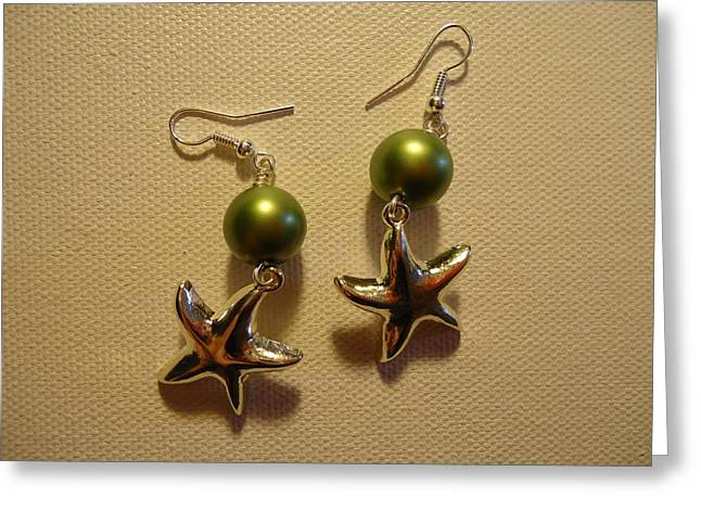 Fashion Jewelry Greeting Cards - Green Starfish Earrings Greeting Card by Jenna Green