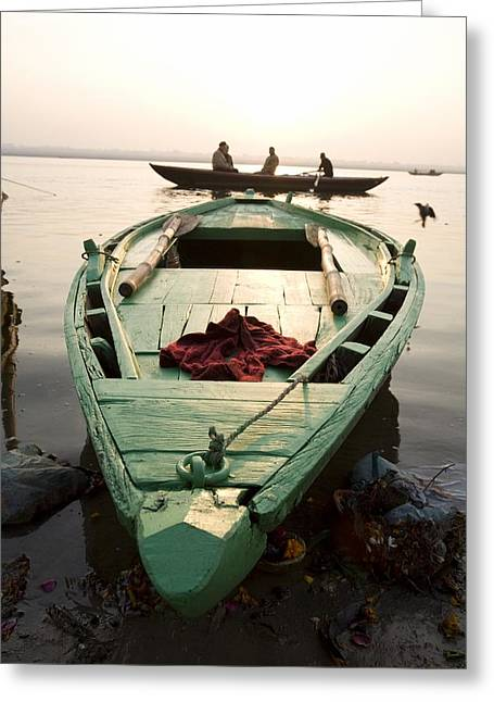 The Ganges Greeting Cards - Green Stationary Boat At Waters Edge Greeting Card by David DuChemin