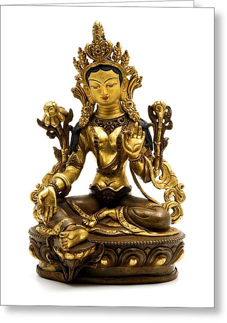 Liberation Greeting Cards - Green Tara Greeting Card by Fabrizio Troiani