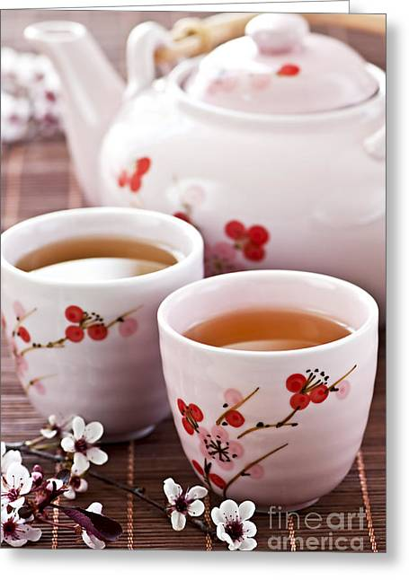 Lids Greeting Cards - Green tea set Greeting Card by Elena Elisseeva