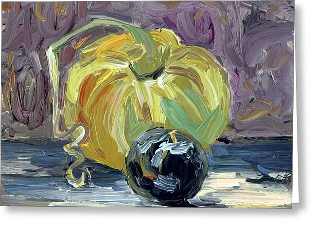 Green Tomato and Plum Greeting Card by Scott Bennett