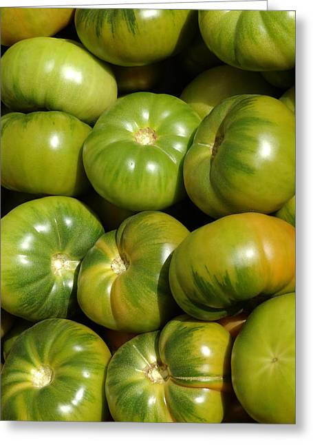Veggie Greeting Cards - Green Tomatoes Greeting Card by Frank Tschakert