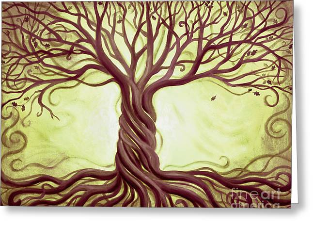 Green Tree of Life Greeting Card by Renee Womack