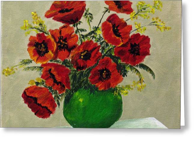 Susan Mclean Gray Greeting Cards - Green Vase Red Poppies Greeting Card by Susan McLean Gray