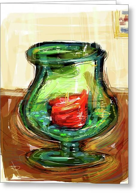 Glass Beads Greeting Cards - Green Vase Greeting Card by Russell Pierce
