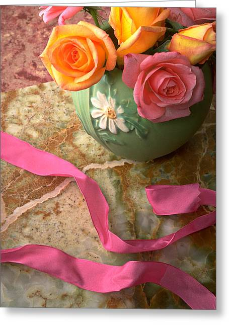 Roses Greeting Cards - Green vase with roses Greeting Card by Garry Gay