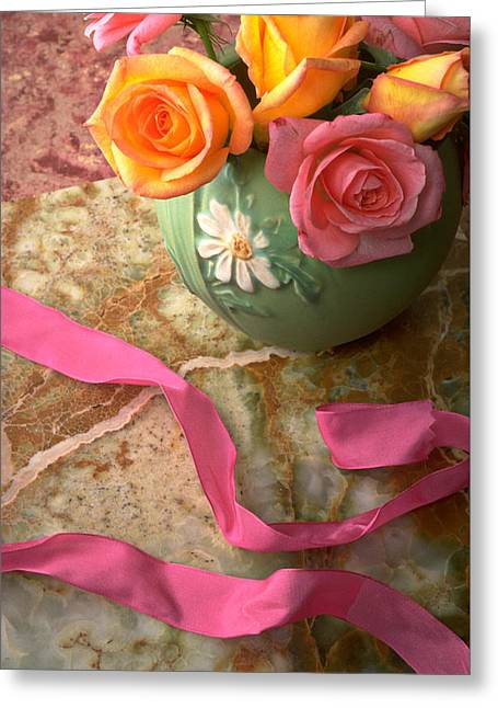 Flower Still Life Greeting Cards - Green vase with roses Greeting Card by Garry Gay