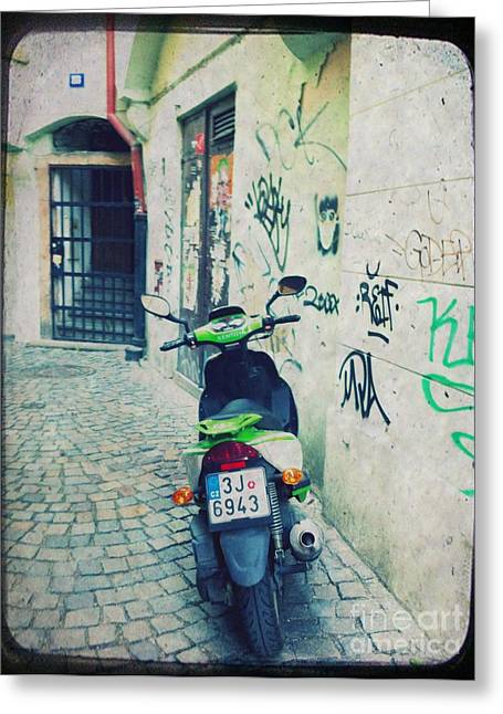 Tire Greeting Cards - Green Vespa in Prague Greeting Card by Linda Woods