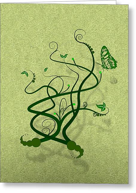 Vine Leaves Mixed Media Greeting Cards - Green Vine and Butterfly Greeting Card by Svetlana Sewell