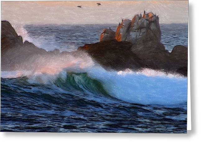 Waves Pastels Greeting Cards - Green Waves Pastel Greeting Card by Stefan Kuhn