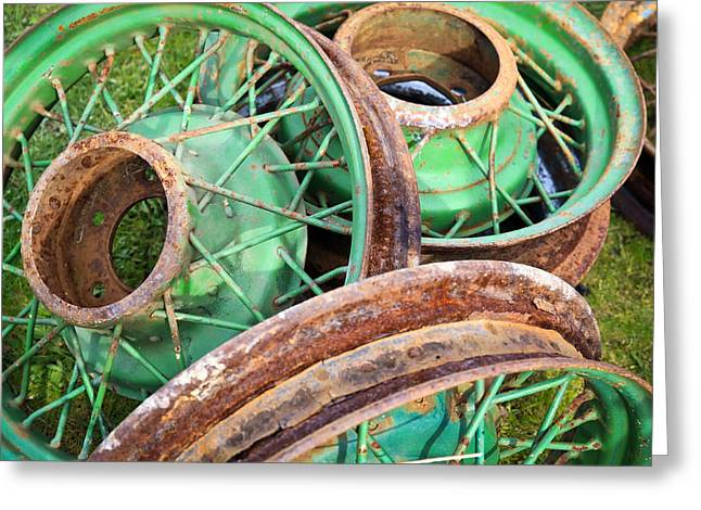 1949 Plymouth Greeting Cards - Green Wire Wheels Greeting Card by Steve McKinzie