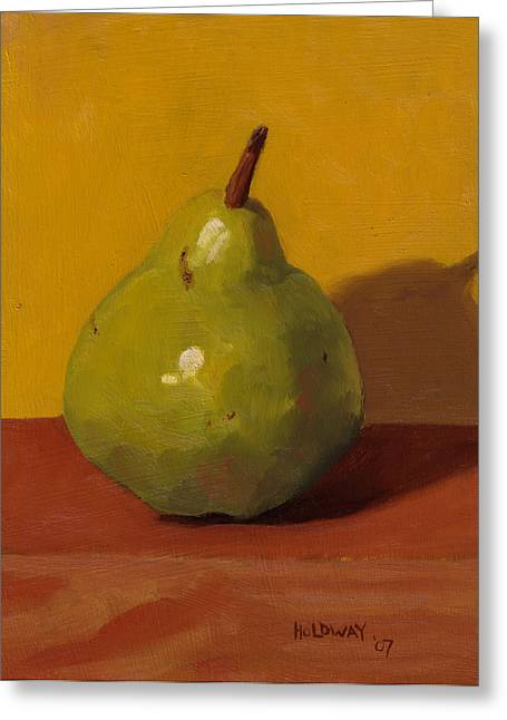 Pears Paintings Greeting Cards - Green with Yellow Greeting Card by John Holdway
