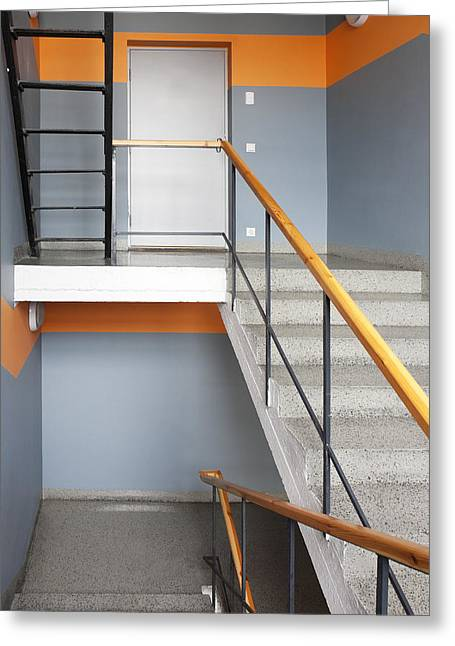 Manufacturing Greeting Cards - Greencoal Factory Estonia. A Stairwell Greeting Card by Jaak Nilson