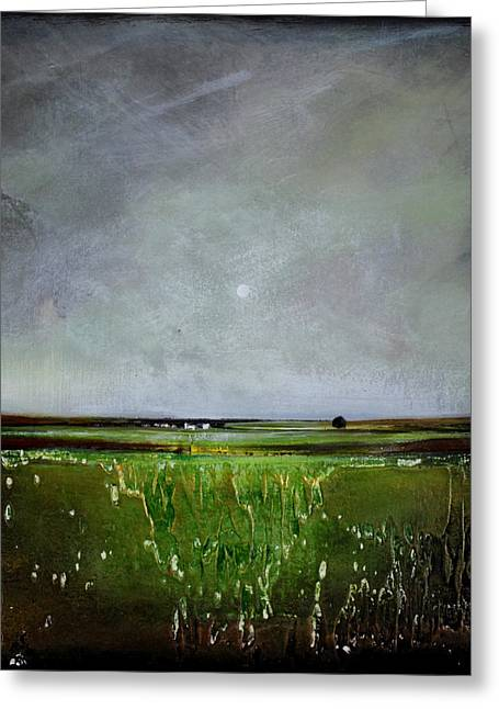 Minimalist Landscape Greeting Cards - Greener Pastures Greeting Card by Toni Grote
