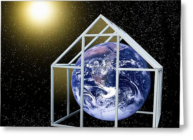Greenhouse Effect Greeting Cards - Greenhouse Effect, Conceptual Artwork Greeting Card by Victor De Schwanberg