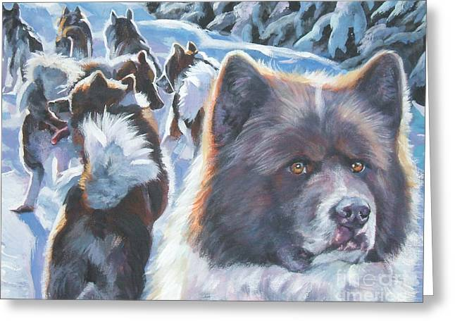 Greenland Greeting Cards - Greenland Dog Greeting Card by Lee Ann Shepard