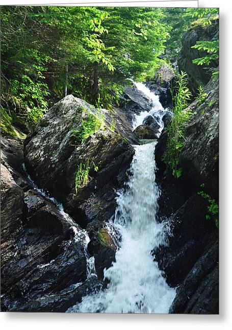 Jeff Moose Greeting Cards - Greenville Maine Waterfall Greeting Card by Jeff Moose