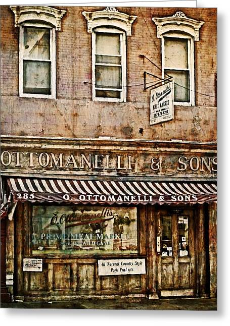Store Fronts Greeting Cards - Greenwich Village Meat Market Greeting Card by Kathy Jennings