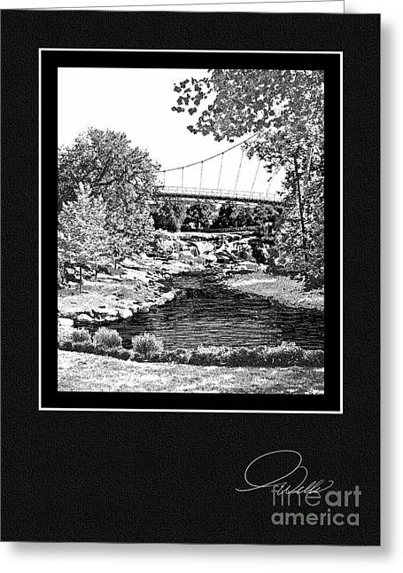 Rivers In The Fall Mixed Media Greeting Cards - GREETING CARD - Liberty Bridge at Falls Park - Architectural Renderings Greeting Card by Andrew Wells