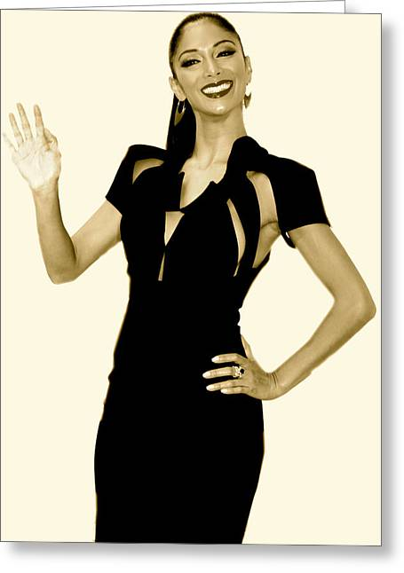 Nicole Scherzinger Greeting Cards - greetings from Nicole Greeting Card by Jez C Self