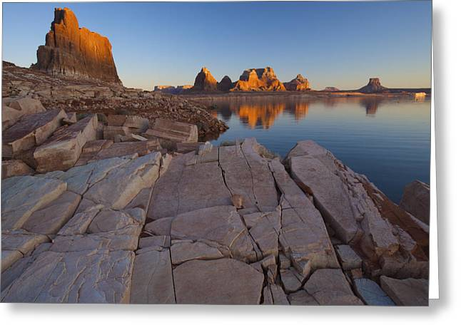 Dry Lake Greeting Cards - Gregory Butte Reflected In Last Chance Greeting Card by Michael Melford