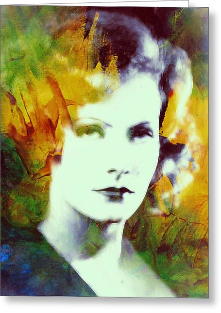 Movie Art Greeting Cards - Greta Garbo Abstract Pop Art Greeting Card by Stefan Kuhn