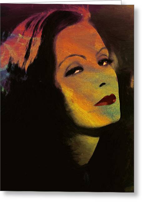 Movie Art Greeting Cards - Greta Garbo Pop Art Greeting Card by Stefan Kuhn
