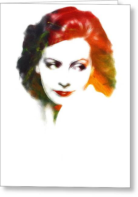 Classic Hollywood Paintings Greeting Cards - Greta s lips Greeting Card by Stefan Kuhn