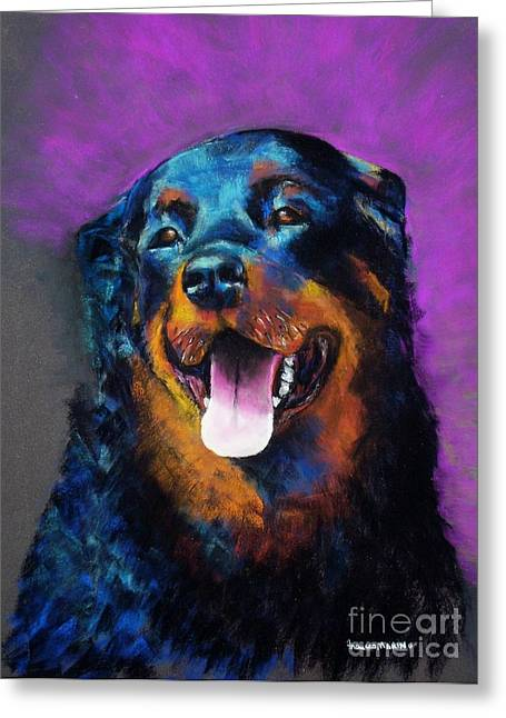 Rottweiler Greeting Cards - Gretchen Greeting Card by Frances Marino