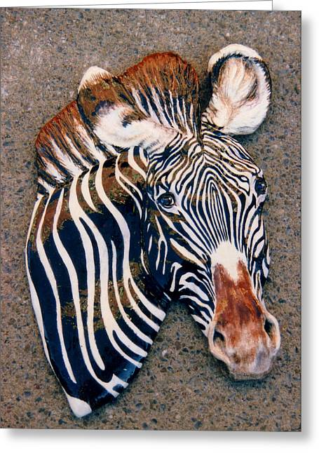 Zebra Ceramics Greeting Cards - Grevy Greeting Card by Dy Witt