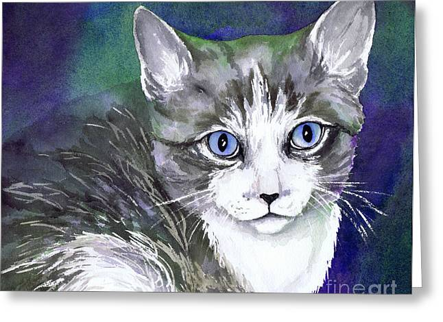 Kitten Prints Greeting Cards - Grey and White Kitten Greeting Card by Cherilynn Wood