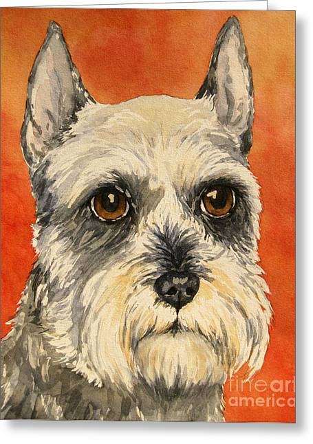 Schnauzer Art Greeting Cards - Grey and white Schnauzer Greeting Card by Cherilynn Wood