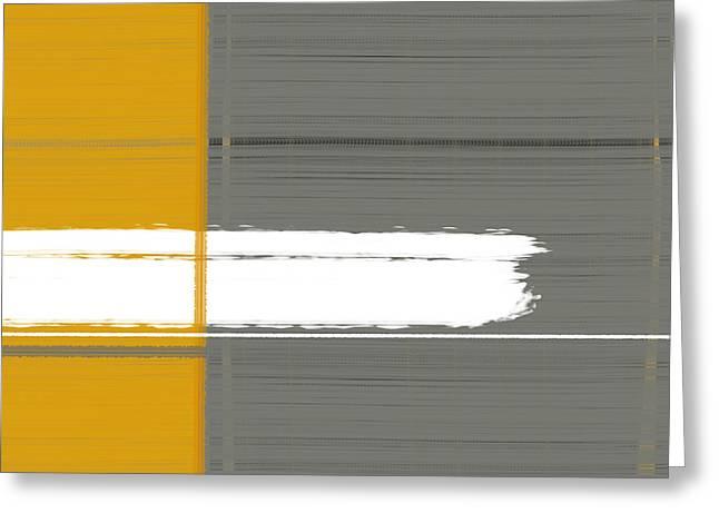 Geometric Design Greeting Cards - Grey and Yellow Greeting Card by Naxart Studio