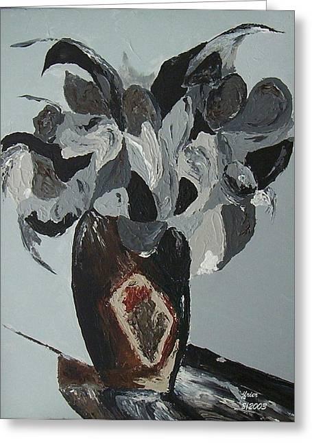 Pallet Knife Greeting Cards - Grey Flowers in Vase Greeting Card by Jamie Frier