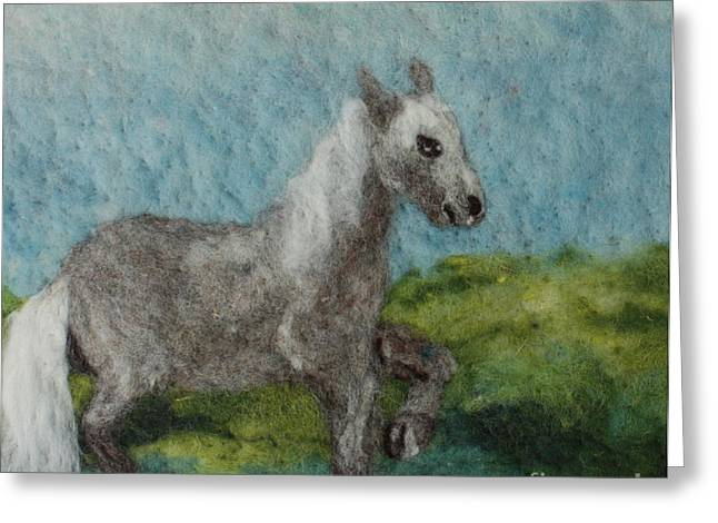 White Horse. Tapestries - Textiles Greeting Cards - Grey Horse Greeting Card by Nicole Besack