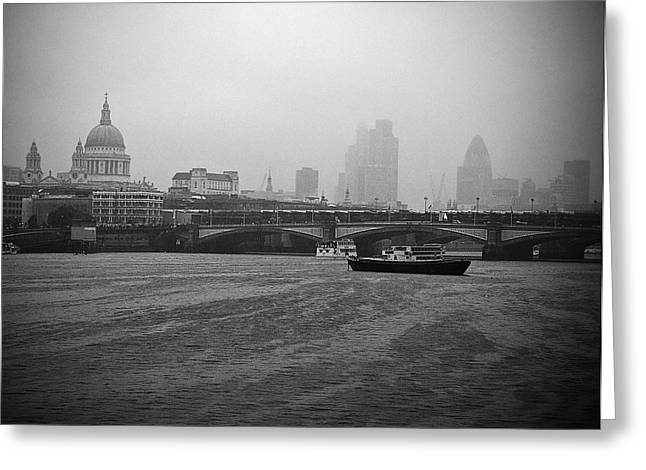 Runnycustard Greeting Cards - Grey London Greeting Card by Lenny Carter