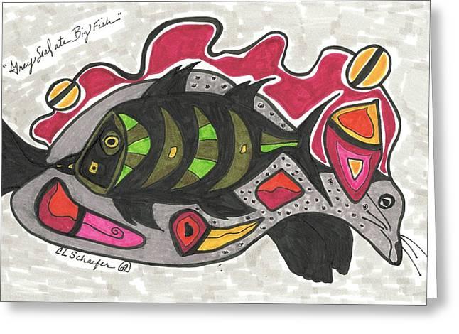 Seal Drawings Greeting Cards - Grey Seal Ate Big Fish Greeting Card by Carolyn L Schaefer