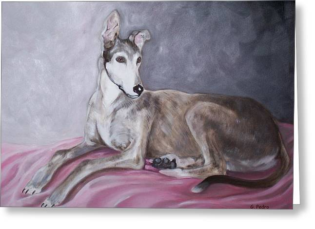 Rescued Greyhound Greeting Cards - Greyhound at Rest Greeting Card by George Pedro