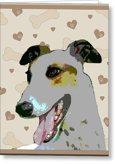 Greyhound Greeting Card by One Rude Dawg Orcutt