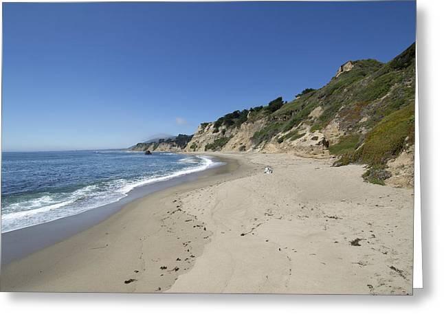 Blue Green Wave Greeting Cards - Greyhound Rock State Beach Panorama - Santa Cruz - California Greeting Card by Brendan Reals