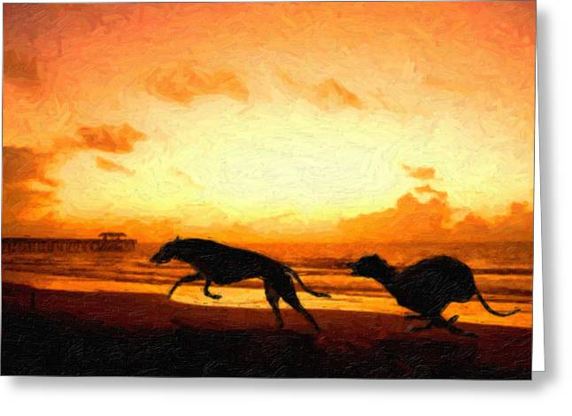 Sand Paintings Greeting Cards - Greyhounds on beach Greeting Card by Michael Tompsett