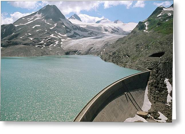 Valais Canton Greeting Cards - Griesse Lake And Dam, Switzerland Greeting Card by Dr Juerg Alean